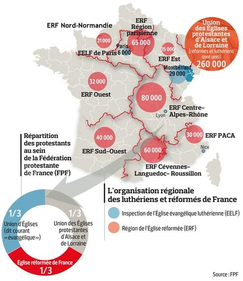 Repartition des Protestants en France