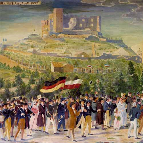 Fête nationaliste au château de Hambach (Palatinat du Rhin) en mai 1832