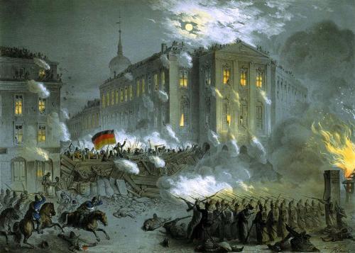 Barricades à Berlin, mars 1848