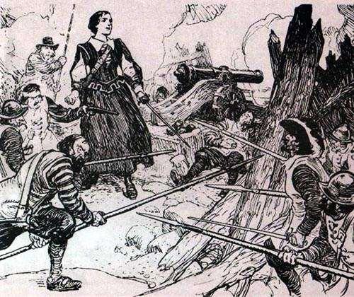 Mme La Tour défendant le Fort St-Jean contre un assaut papiste en 1645
