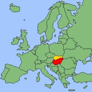 La Hongrie (en rouge) et la Slovaquie (en jaune) aujourd'hui