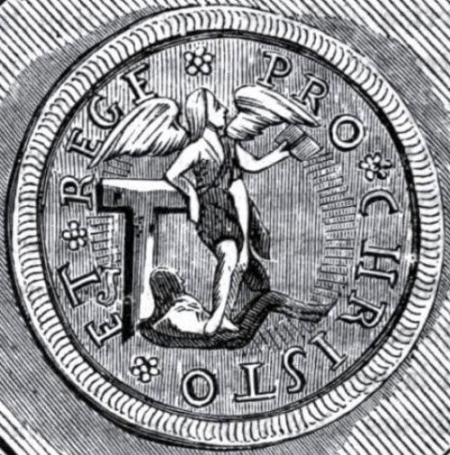 Emblème de La Rochelle lors de la décennie de sa sécession effective. La devise « Pour Christ et le Roi » témoigne de la conception abstraite qu'épousaient les huguenots sur le pouvoir civil : celui-ci ne repose pas en la personne du roi, mais dans le Droit.