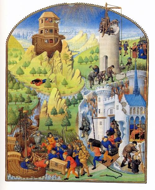 Mélange de thèmes bibliques et helléniques (Arche de Noé, tour de Babel et siège de Troie) dans Compilation des chroniques et histoires des Bretons, vers 1480, Bibliothèque nationale de France