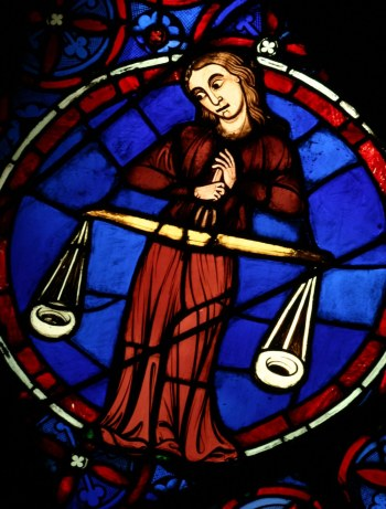 Vierge (signe zodiacal), vitrail de la cathédrale Notre-Dame de Paris, vers 1220