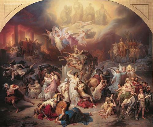 Des anges guident les chrétiens de Jérusalem en sûreté à Philadelphie (en actuelle Jordanie) tandis que les Romains dévastent la ville. — par Wilhelm von Kaulbach (1846)
