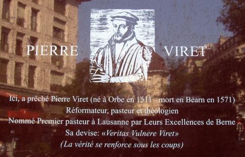 Plaque commémorative de Pierre Viret à Lausanne en Suisse