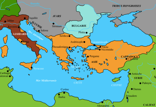 Carte de l'Empire byzantin en 750