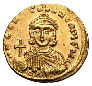 Pièce de monnaie à l'effigie de Constantin V, qui convoqua le Concile d'Hiéreia en 754