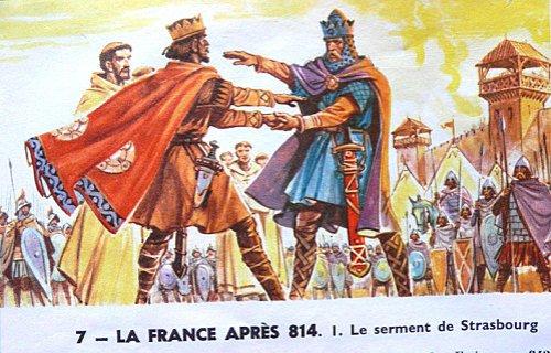 Serment de Strasbourg entre Charles le Chauve et Louis le Germanique le 14 février 842 — Salut romain, manuel scolaire de la IIIe République.