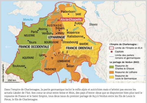 Carte de l'Empire carolingien en 843