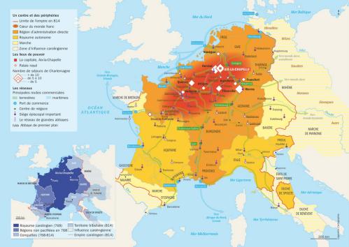 Carte administrative de l'Empire carolingien